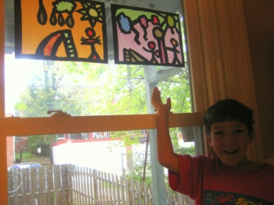 Faux stained glass when we learned about the middle ages.