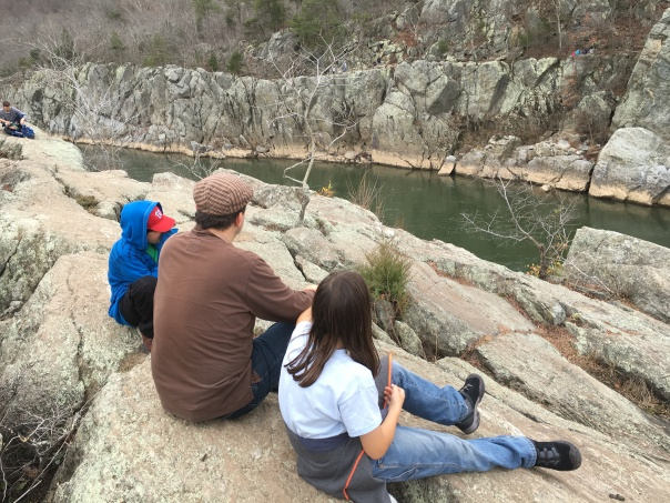 Be willing to venture out on the rockier path. The Husband and the boys on Billy Goat Trail.